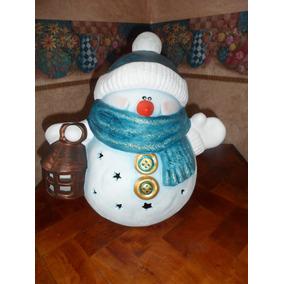 Figura De Mono De Nieve Ceramica Pintado A Mano