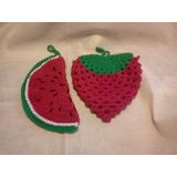 Agarradera Crochet Posa Sandia Frutilla El Cristal Encantado