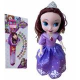 Boneca Princesa Sofia Disney 25cm Relógio Projetor Infantil