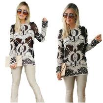 Blusinha Blusa Camisa Feminina Renda Guipir Transparencia