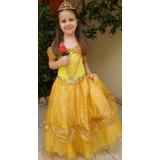 Fantasia Princesa Bela E A Fera Com Coroa E Luva De Brinde!