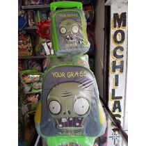 Mochila Original Plantas Vs Zombies Con Lonchera En Ruedas
