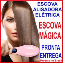 Hair Straightener Escova Elétrica Mágica Alisadora Cabelos