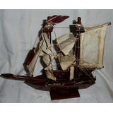 Antiguo Barco Velas Tela Madera Maciza Fragata-coleccion