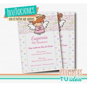 Bautismo Nena - Estampita Para Imprimir Con Angelita Rosa