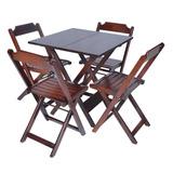 Conjunto Mesa 4 Cadeiras Dobráveis Madeira
