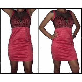 Vestido Curto Bandage Bicolor 3d Rosa