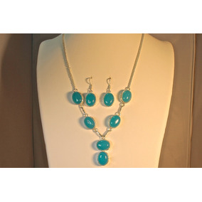 Rsp J1894 Belle Nature Colar E Brinco Prata 925 Ágata Azul