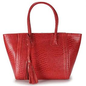 Bolsa Shopping Bag Em Couro Lara - Vermelho