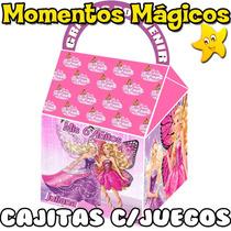 10 Cajitas Souvenir Barbie Princesa Mariposa Hada + 7 Juegos
