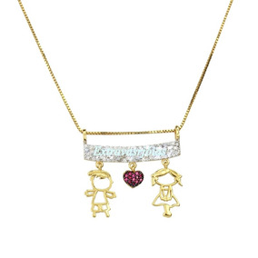 Lindo Colar Casal Em Ouro Diamantes E Rubis!