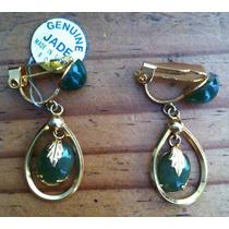 Aretes Jade Y Chapa De Oro - Hasta 15 Marzo