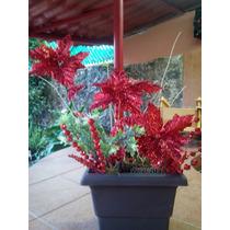 Arreglo Floral Navideño Con Nochebuenas