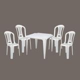 Conj Mesa E4 Cadeiras Plásticas Bistrô Empilháveis Mor 140kg