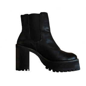 Botines Cuero Negro 38 - Plataforma - Mujer