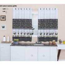 Cortina De Cozinha 2,00 X 1,50 +kit Varão 2 Metros Branco