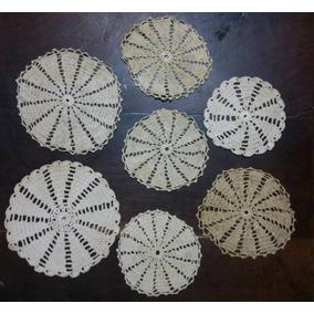 Carpetas De Hilo Tejidas Al Crochet Antiguas Juego De 7