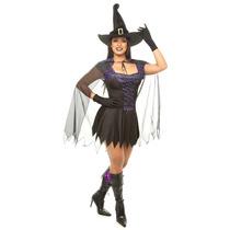 Fantasia Bruxa C/capa,chapeu,luva Halloween Adulto,kit 4 Pçs