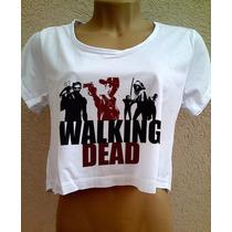 Blusa Cropped The Walking Dead Feminina Babylook Camiseta