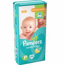 Fraldas Pampers - Mega 50 Unidades Infantil P Total Confort