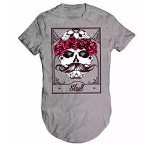 Camisa Camiseta Swag Longline Caveira Mexicana Skull