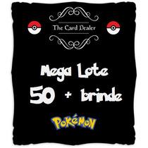 Mega Lote Pokémon - 50 Cartas Com 5 Raras + Brinde