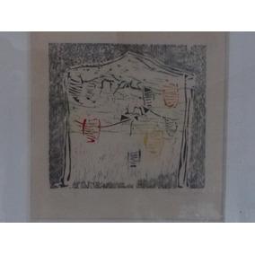 Linda Xilogravura Abstrata Luciana Schiller Emoldurada