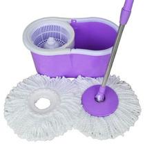 Kit Spin Mop De Limpeza Balde Com Esfregao Vassoura + Refil