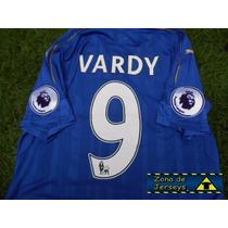 Jersey Leicester City Local Vardy 9 Campeón Inglaterra 2017