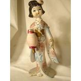 Antigua Porcelana -figura Geisha Kimono- Japan