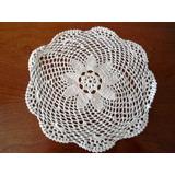 Carpetitas Tejidas Crochet Hilo De Algodón Blanco 26 Cm Diám