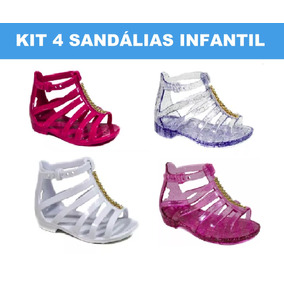 4 Unid Sandália Baby Infantil Fem Sapatilha Tipo Melissa