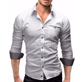 Camisa Social Masculina Slim Fit Casual Manga Longa Fashion