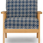 Sillón Francis Retro Mid Century Navy Blue Patterned Fabric
