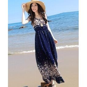 Mei Fashion / Vestido Largo/ Moda Coreana/ Verano Floreados