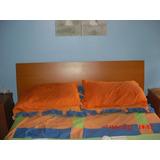 Cuarto Dormitorio Cama Matrimonial Mdf Color Cerezo