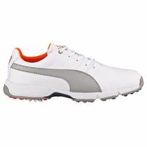 Zapatos De Golf Puma Para Niños Titanium Cleated Jr Blancos