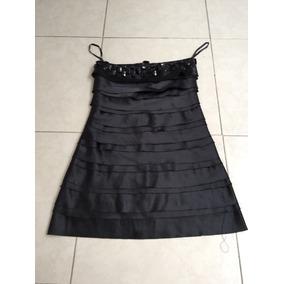 Vestido Corto Noche Satin Negro Piedras Estilo Bebe Drapeado
