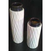 Floreros De Ceramica, De Estilo Elegante Set X 2, Oferta