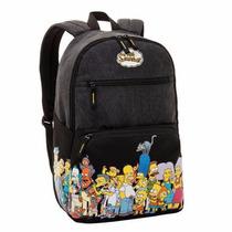 Mochila Escolar Masculina Juvenil Simpsons Neighbours Preto