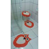 Jogo De Banheiro Coruja 04 Pçs Crochê 100% Algodão Vermelho