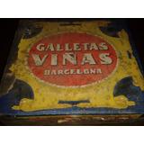 Antigua Lata De Galletitas Española Marca Viñas Decada 20