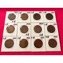 Lote De 12 Moneda 5 Centavos 1915 1920 1921 1924 1925 1926