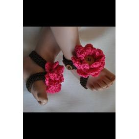 Sandalias Bebe Pies Descalsos Crochet Y Perlas 2 Pare