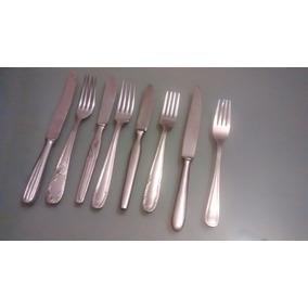 Set De Cuchillos Y Tenedores Antiguos De Acero Inoxidable