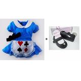 Vestido Alice + Tiara + Sapato Fantasia Festa Infantil