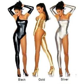 Traje Dorado Plástico Metálico Table Strippers Disfraz Sexy