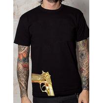 Playera O Camiseta Arma Pistola 9mm Dorada Armado De Oro