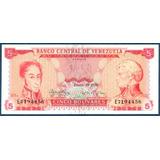 Billete 5 Bolívares Enero 29 De 1974 Serial E7 Sc/ Au