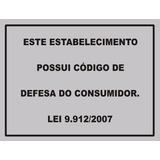 Placa Código Defesa Consumidor